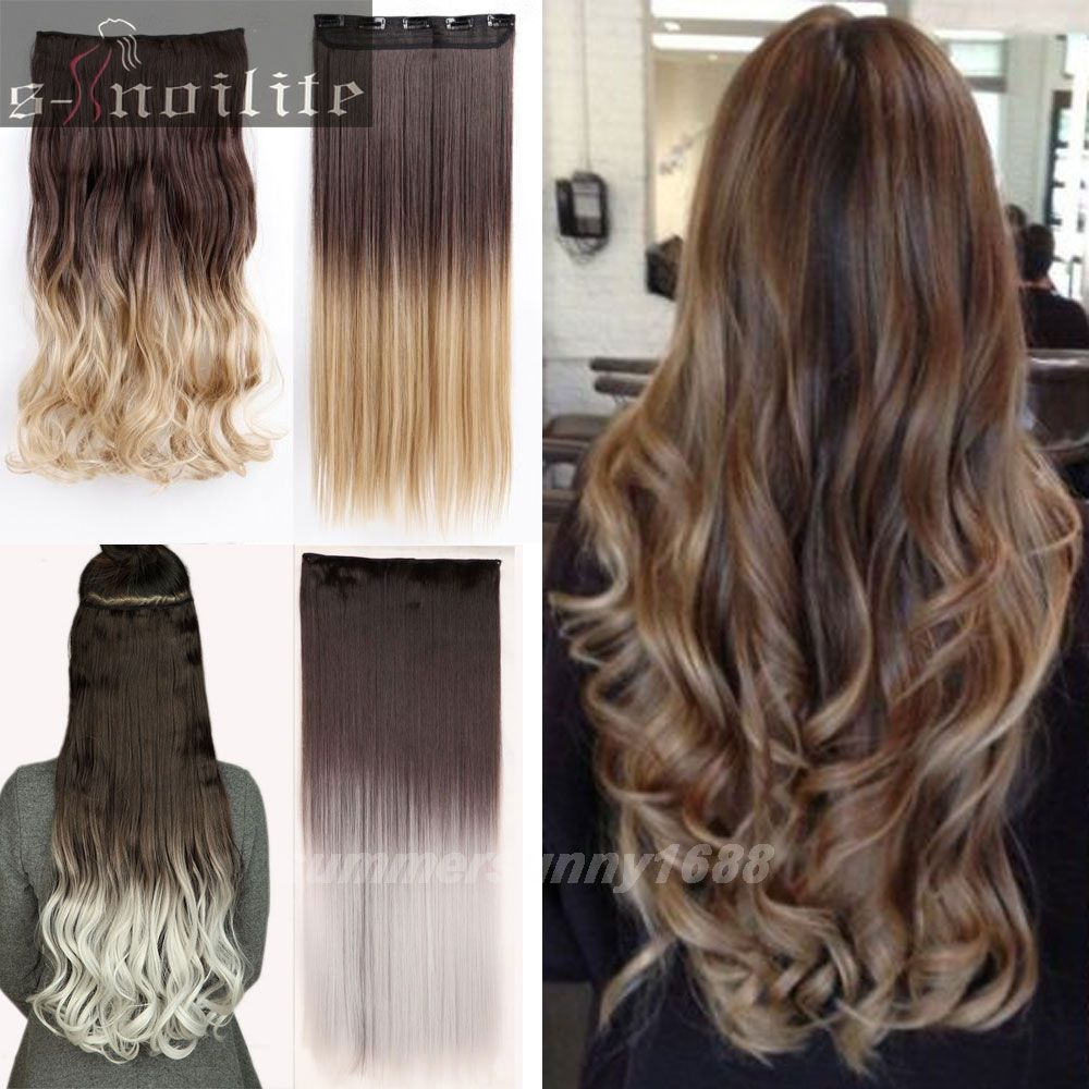 Mode neue ombre haarverl ngerungen lange gerade dip dye clip in haarverl ngerung schwarz braun - Braun blond ombre ...