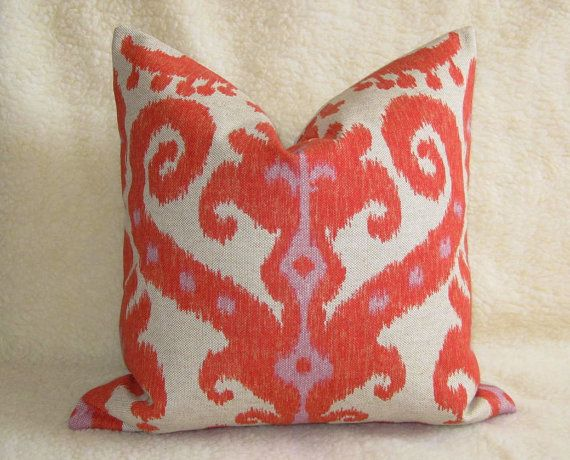 ikat pillow in orange/red/pink/coral