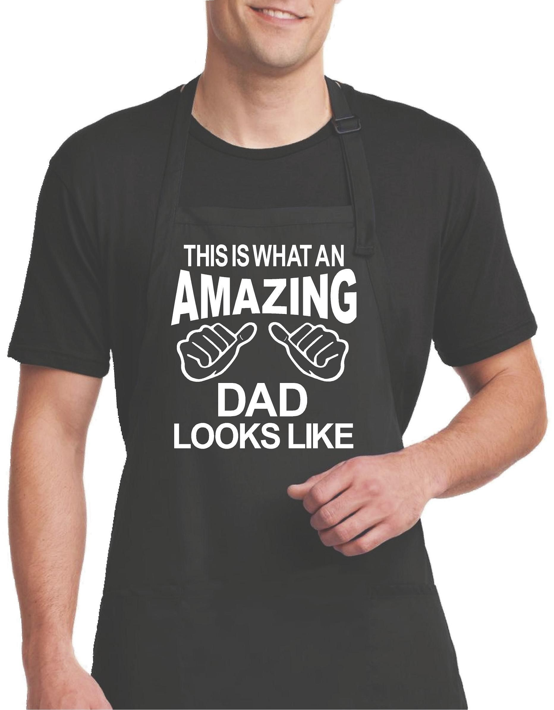 dbc841ce Black Aprons, This Is What An Amazing Dad Looks Like Apron with Pockets