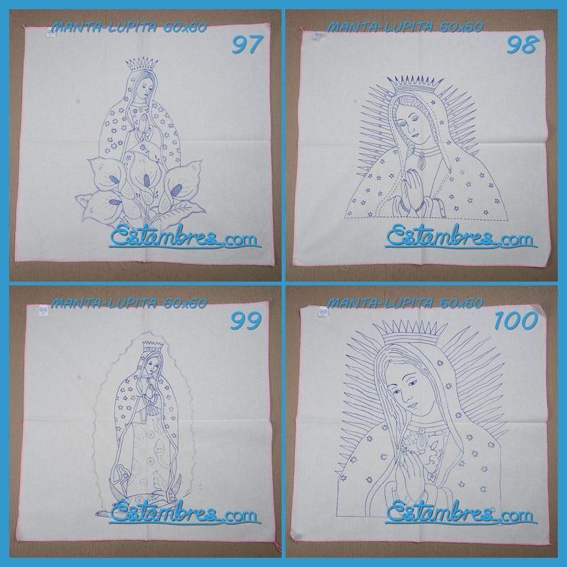 Manta 60x60cm Lupitas Virgen De Guadalupe Para Bordar Esquemas Virgen De Guadalupe En Manta Para Bordar Servilleta Para Bordar En Manta Mantas Dibujos Pinturas Religiosas