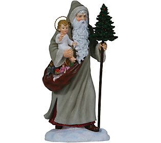 Limited Edition Santa w/ Tree and Baby Jesus Figurine by Pipka