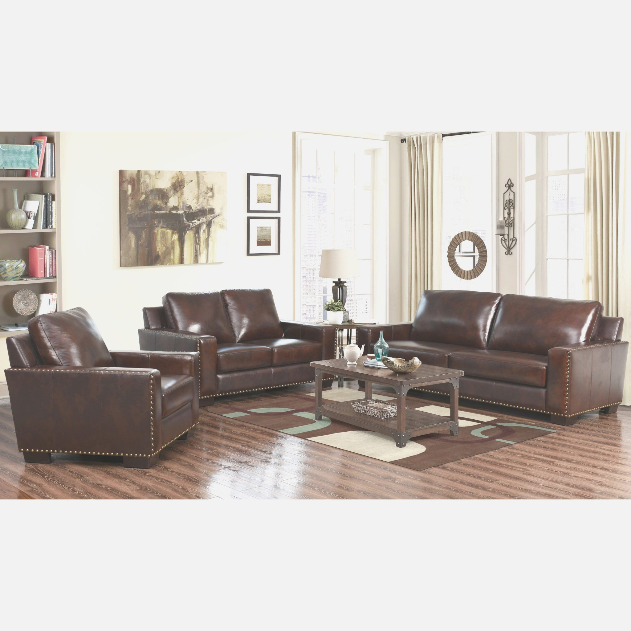 Top Grain Leather Living Room Set - abbyson living barrington 3 ...