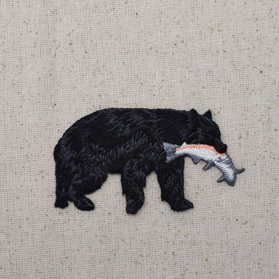 65c0ae887ab71 Black Bear - Catching Fish - Rainbow Trout - Iron on Applique - Embroidered  Patch -