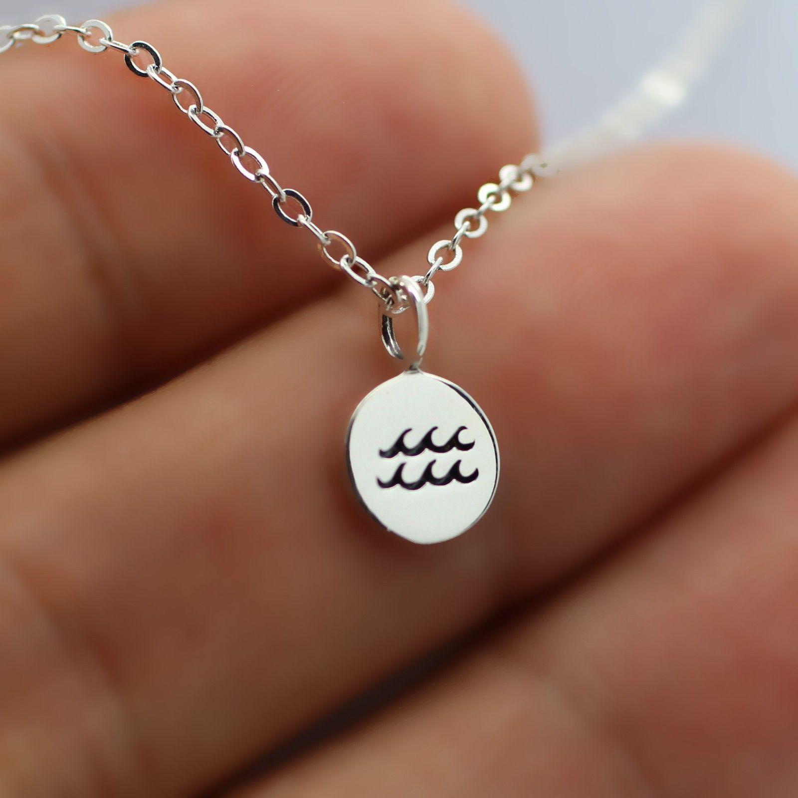 Aquarius necklace sterling silver tiny horoscope zodiac