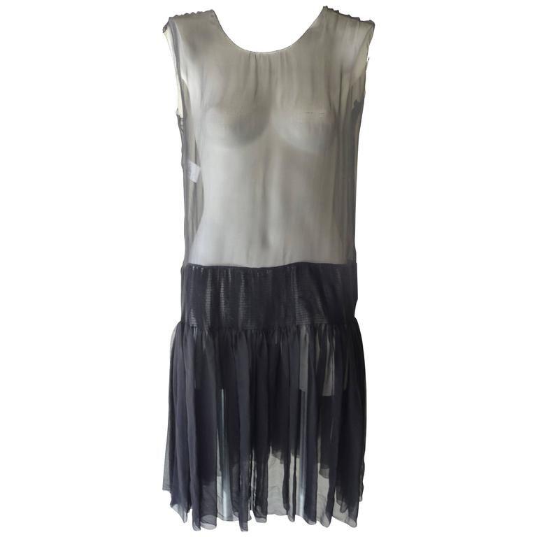 Rochas Black Sheer Silk Dress