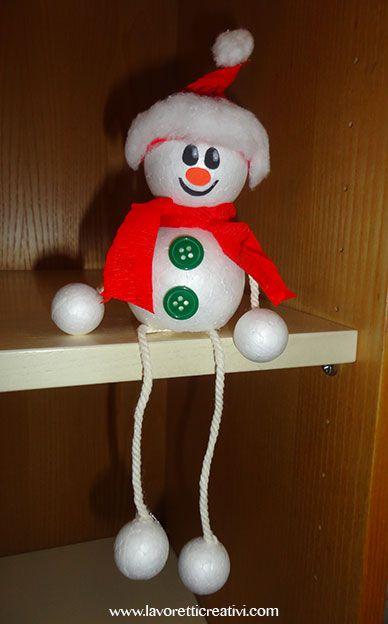 Lavoretti Di Natale Con Palline Di Polistirolo.Pupazzo Di Neve Con Palline In Polistirolo Oggetti