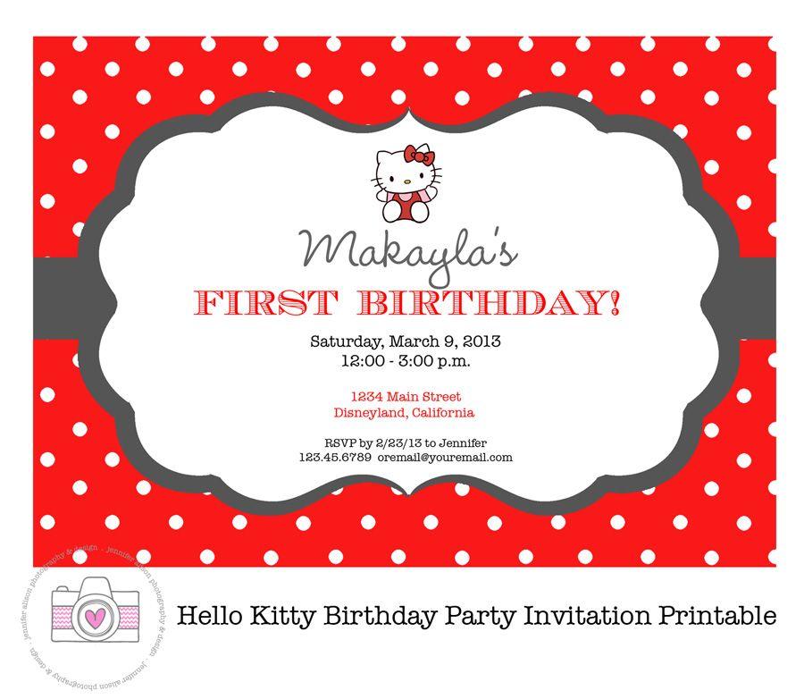 hello kitty printable invitation personalized / birthday party, Invitation templates