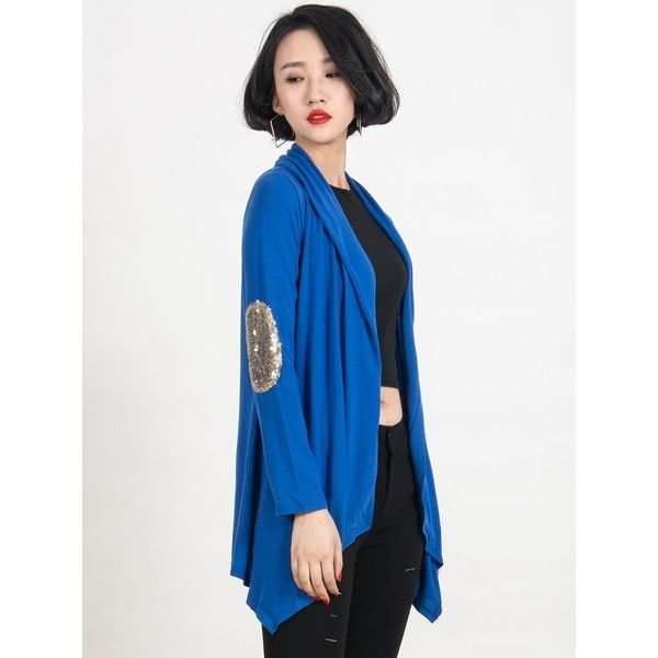 Blue Patch Elbow Sequin Detail Long Sleeve Waterfall Cardigan ($19 ...