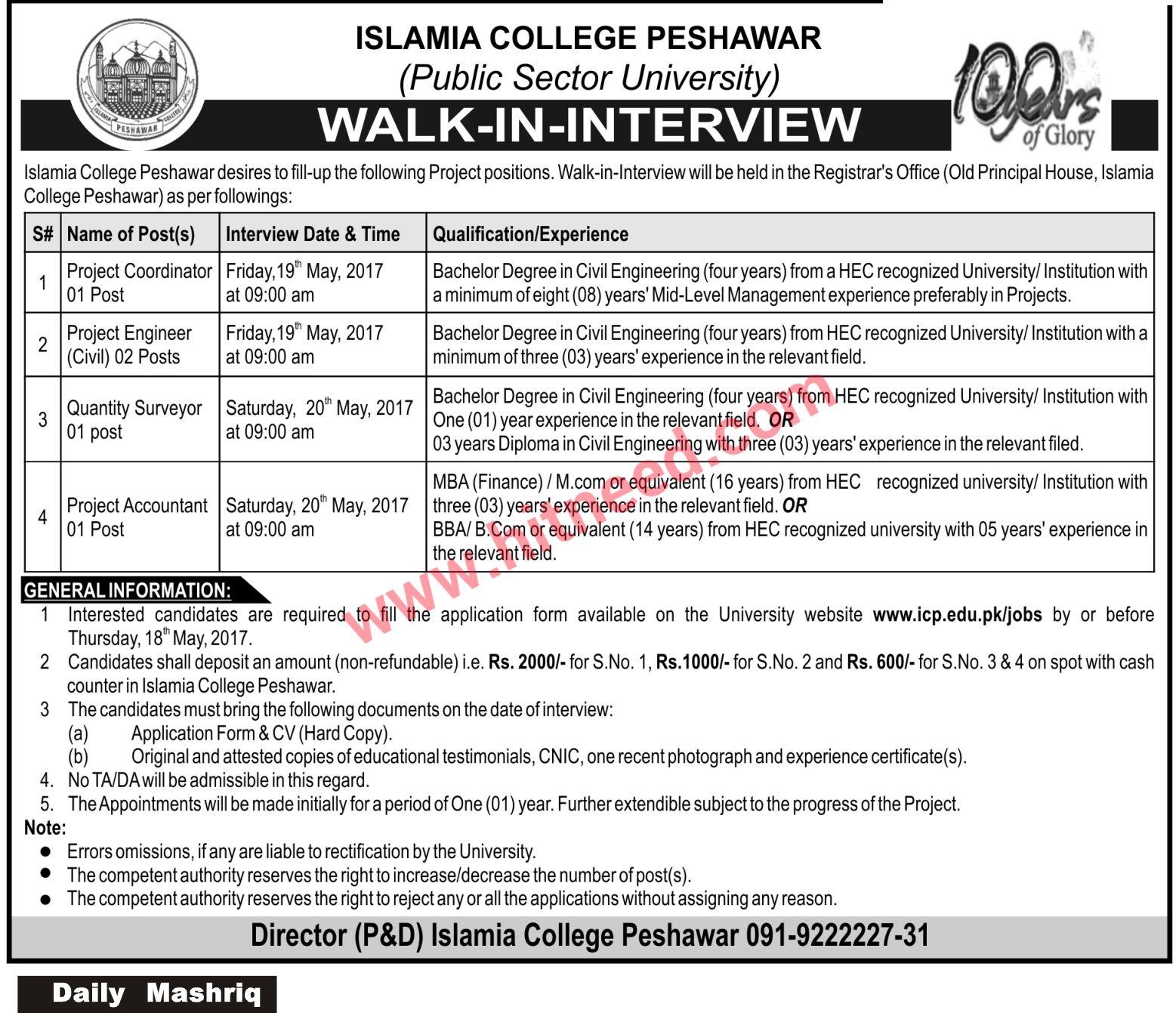 Islamia College Peshawar, Project Coordinator / Engineer - Walk-In ...