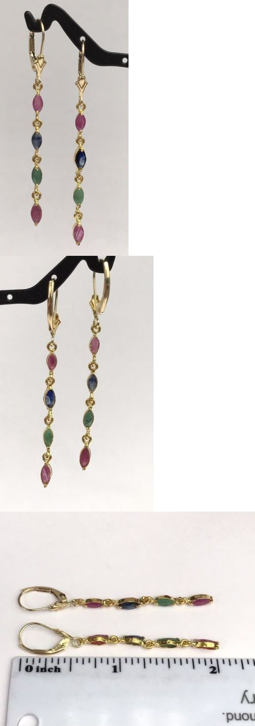 Gemstone 14K Solid Yellow Gold Leverback Long Dangle