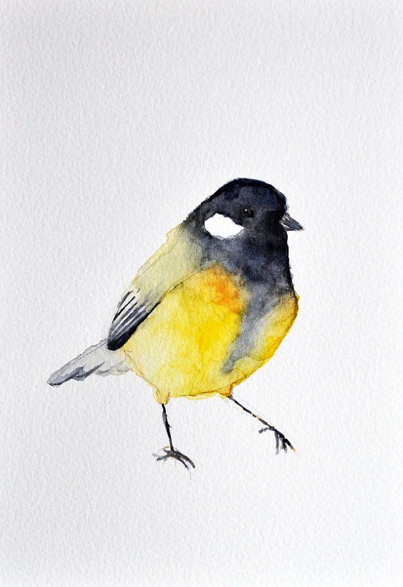 christmas sale original aquarelle gem lde blaumeise vogel kunst schwarz und gelb 6 x 8. Black Bedroom Furniture Sets. Home Design Ideas
