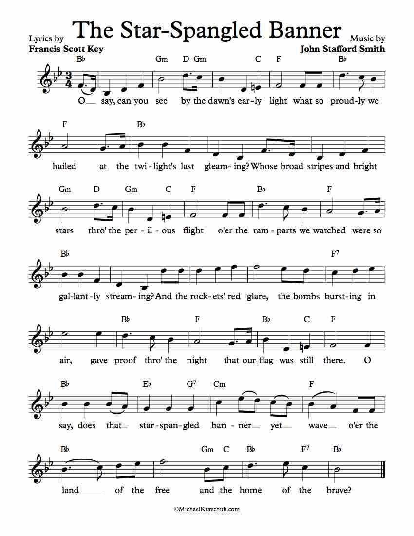 Free Lead Sheet The Star Spangled Banner In 2018 Via Kids Song