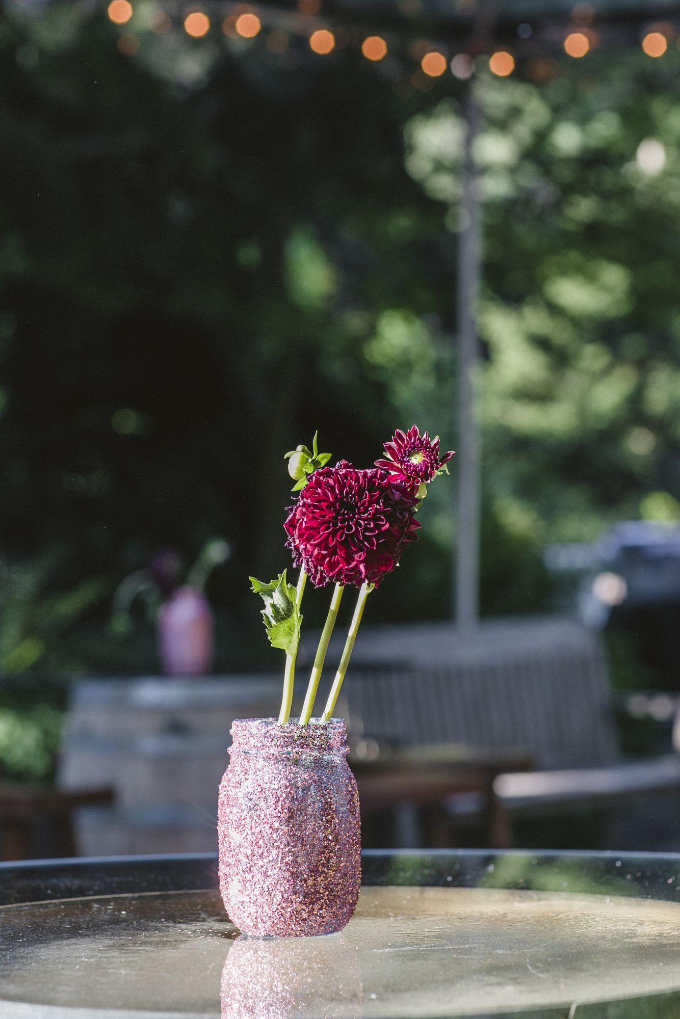 Purple Dahlias In Decorated Mason Jar