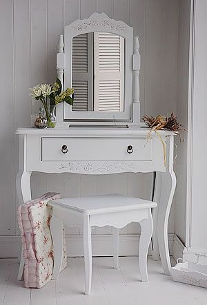 A Small White Dressing Table   The Hamptons Range