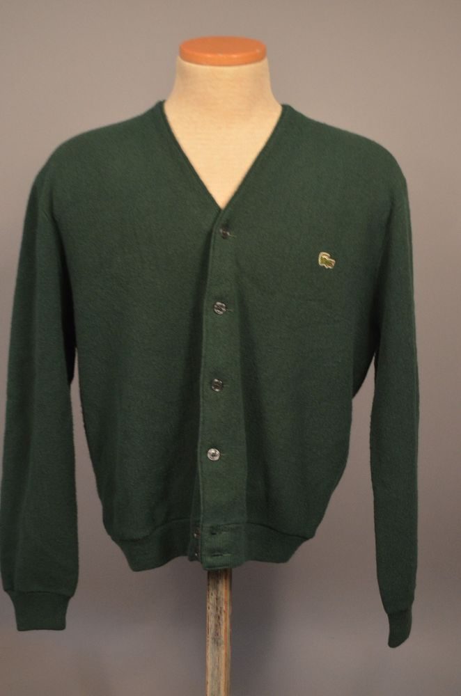 Vintage Izod Lacoste Mens Green Acrylic Cardigan Sweater Size L/XL ...