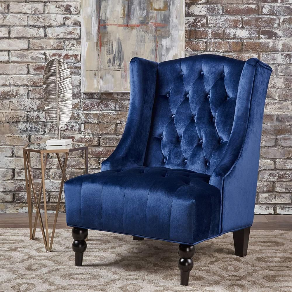 Victorian Accent Chair Wood Velvet Vanity Stool Living Room Furniture Decor Navy Victorianaccentchair Vict Blue Velvet Chairs Fabric Accent Chair Club Chairs #velvet #accent #chairs #living #room