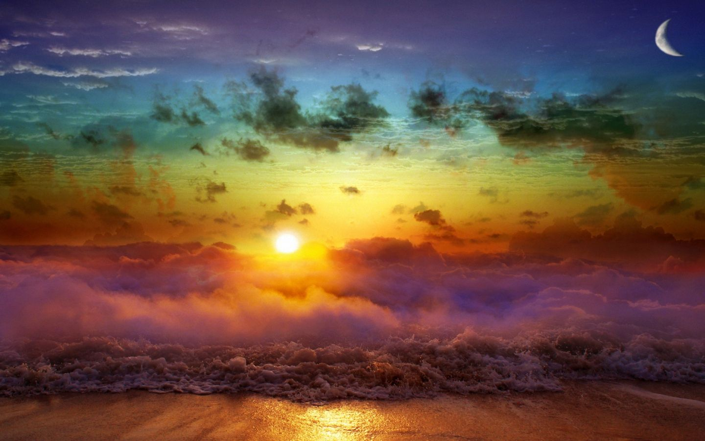 1440x900 Wallpaper Moon Sun Decline Evening Merge Day Night Sea Waves Fog Clouds Sun Background Nature Wallpaper Nature