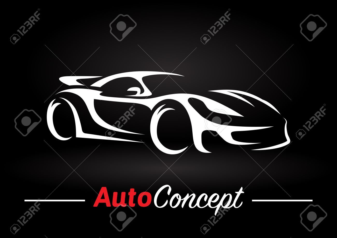 Original Auto Motor Concept Design Of A Super Sports Vehicle Car Silhouette On Black Background Vector Ill Sports Graphic Design Car Silhouette Concept Design