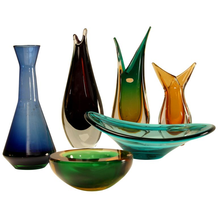 Set Of 6 Seguso Murano Vase Bowlstrays 1950s Art Glass