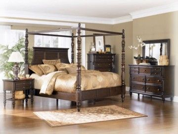 Key Town King Poster Bed In Dark Brown We Opted To Not Get The Canopy But We Love It Canopy