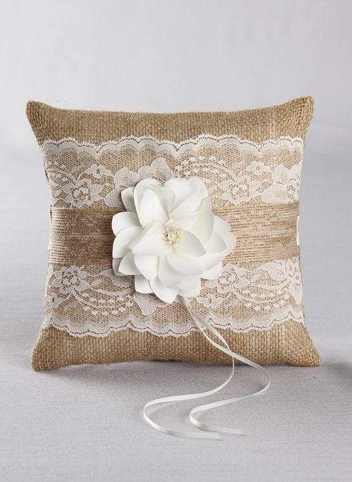 Rustic wedding ring pillow jute wedding pillows rustic wedding pillows