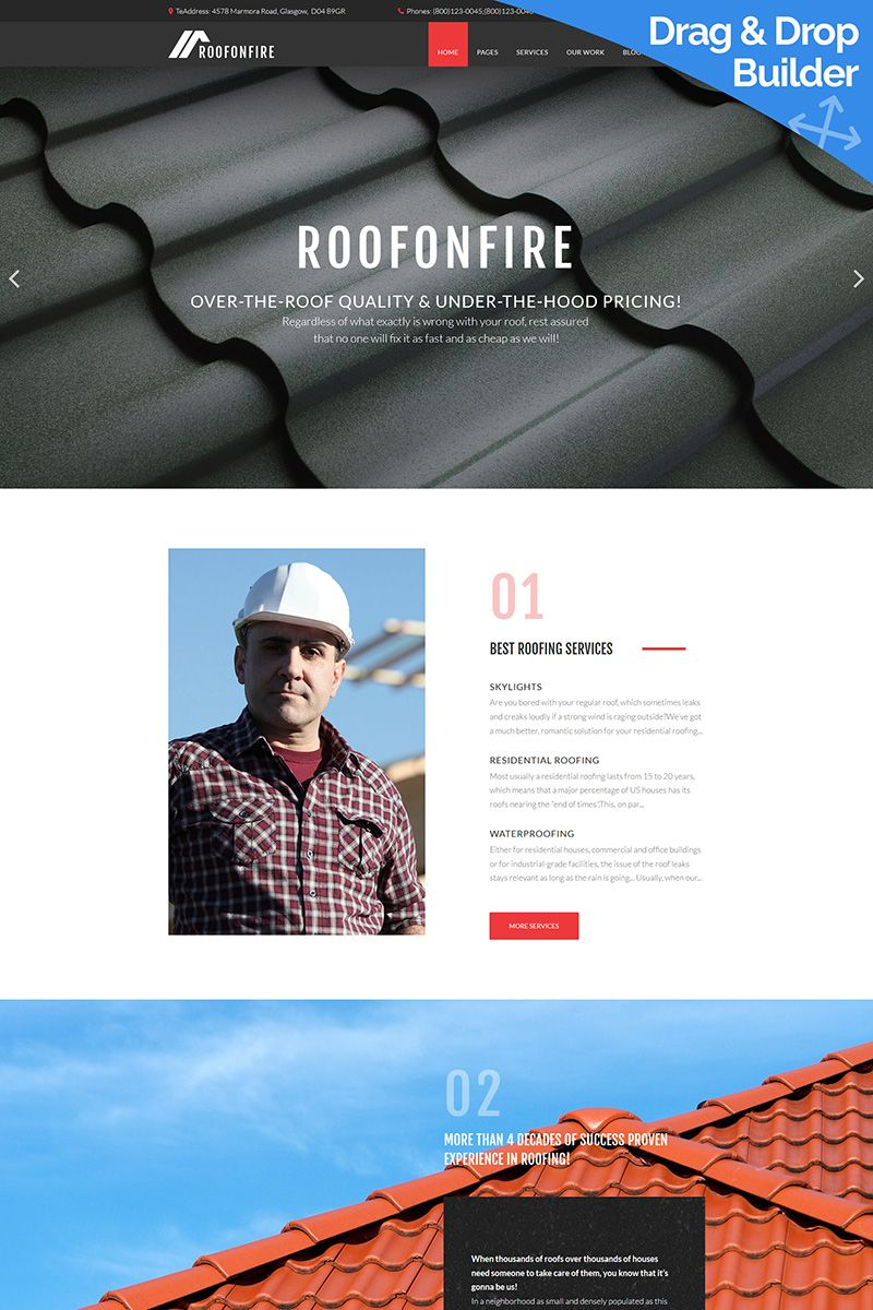 boost your business online with roofonfire roofing company moto cms 3 template constructionbusiness