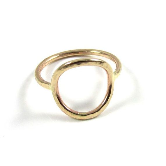 Open Circle Ring Gold Hammered Everlasting by HanaMauiCreations