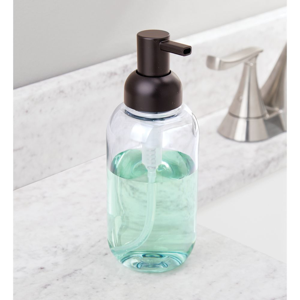 Mdesign Round Plastic Refillable Liquid Soap Dispenser Pump Bottle For Bathroom Vanity Countertop Kitch In 2020 Soap Pump Dispenser Soap Dispenser Foam Soap Dispenser