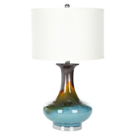 Multicolor glazed lamp with a white linen shade product table lamp construction material ceramic and cotton color multi and white features beautifully