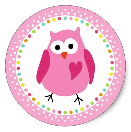 Pink owl with heart and colourful polka dot border classic round sticker