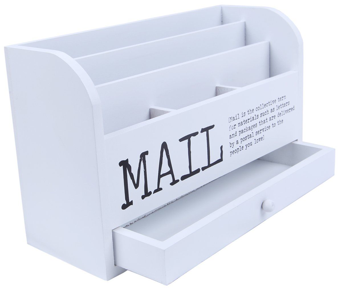 Mail Organizer - 3 Tiered White Letter File Wooden Desk