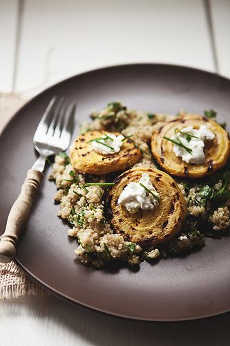 Grilled Beets with Goat Cheese and Cilantro Quinoa