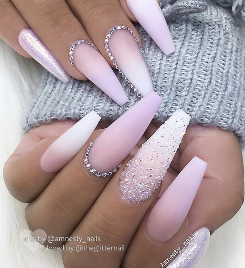 50 Pretty French Pink Ombre And Glitter On Long Acrylic Coffin Nails Design For Spring Summer Matte White Nails Pink Ombre Nails White Acrylic Nails