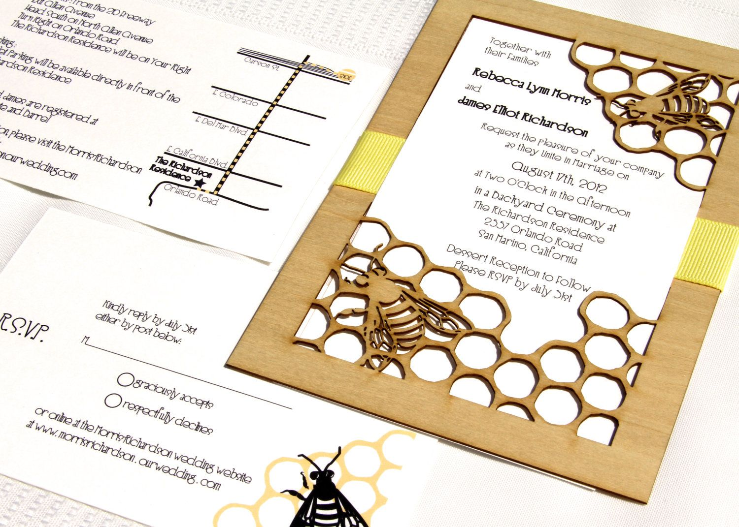 Honey Bee Garden Wedding Invitation and Response Card made from ...