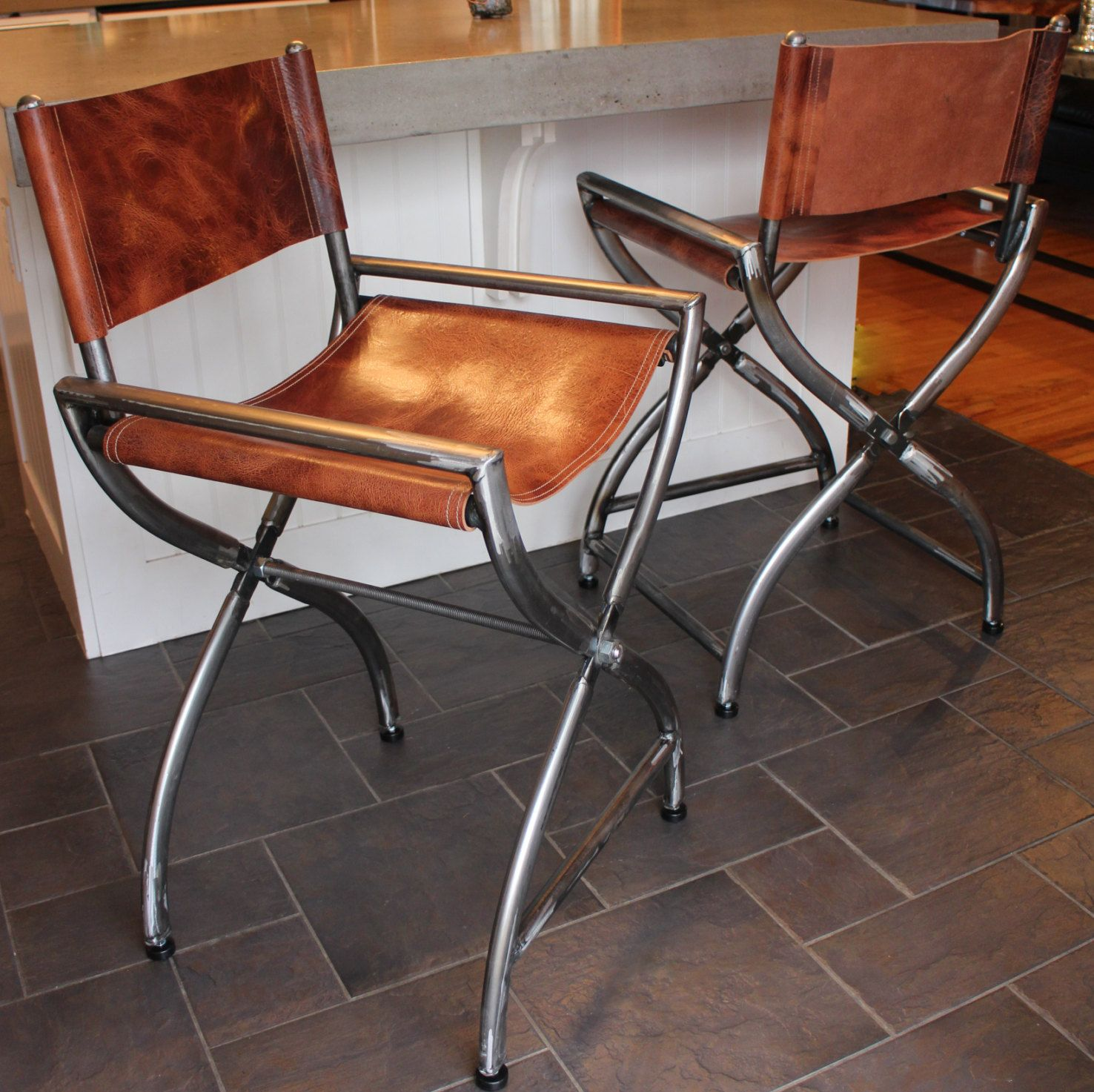 Directors Chair Wrapped In Thick Buffalo Leather Directors Chair