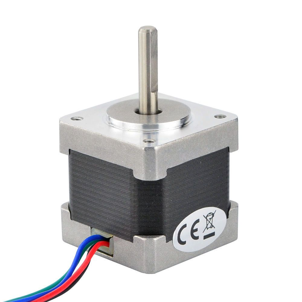 this bipolar nema 14 stepper motor with step angle 1 8deg and size 35x35x34mm it has 4 wires each phase draws 0 8a at 5 4v with holding torque 18ncm  [ 1000 x 1000 Pixel ]