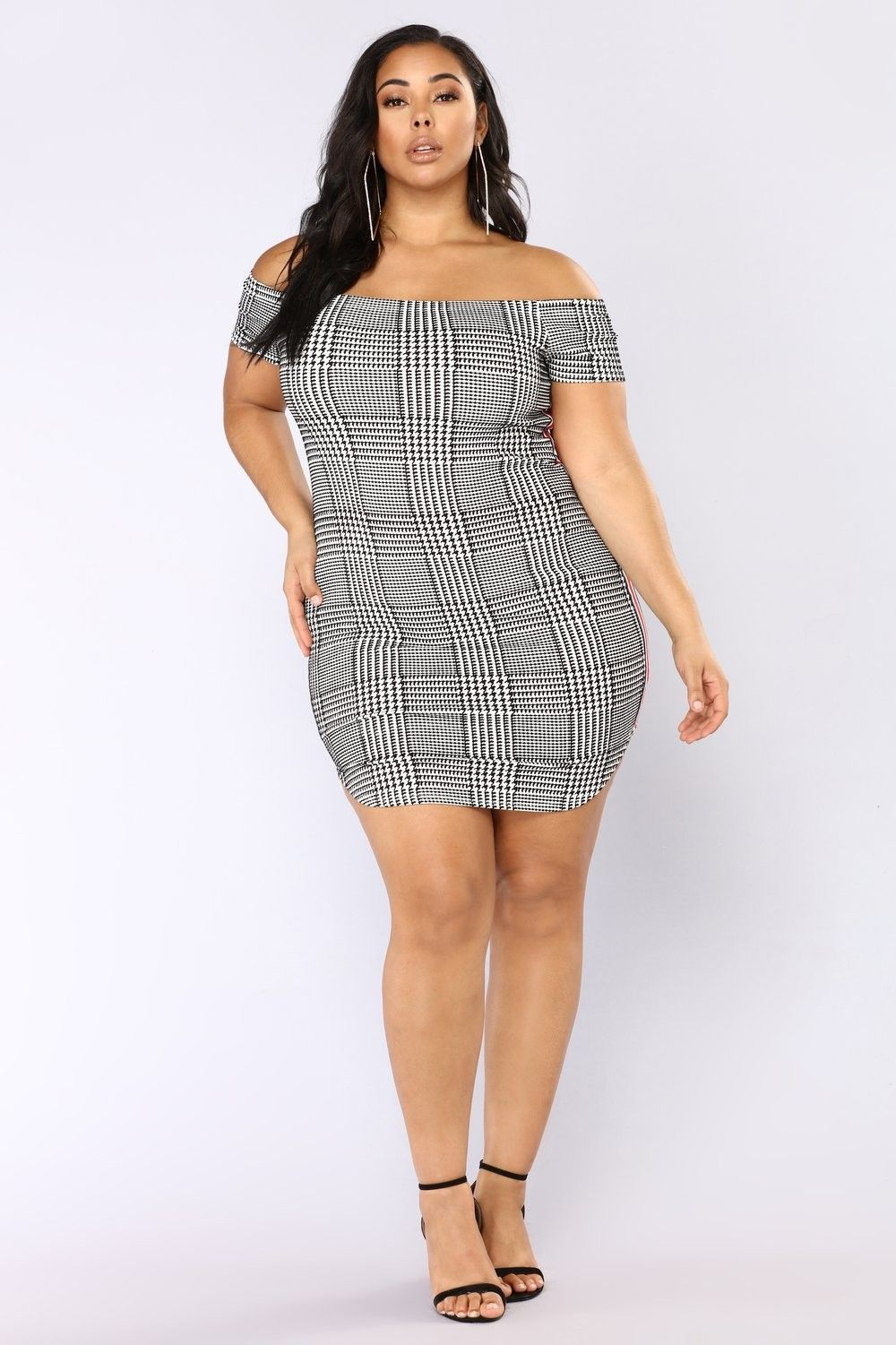 Plus Size Race You There Houndstooth Dress - Black/White $24.99 ...
