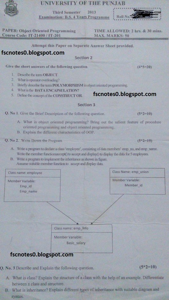 BS (Hons) IT Information Technology Past Papers Semester 3 Object