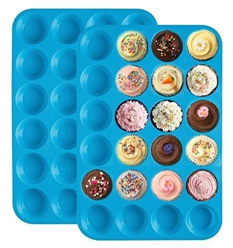 Ozera Silicone Mini Muffin Pan (2 Pack) Non Stick Tray / Bakeware - Silicon 24 Cup Mold Blue