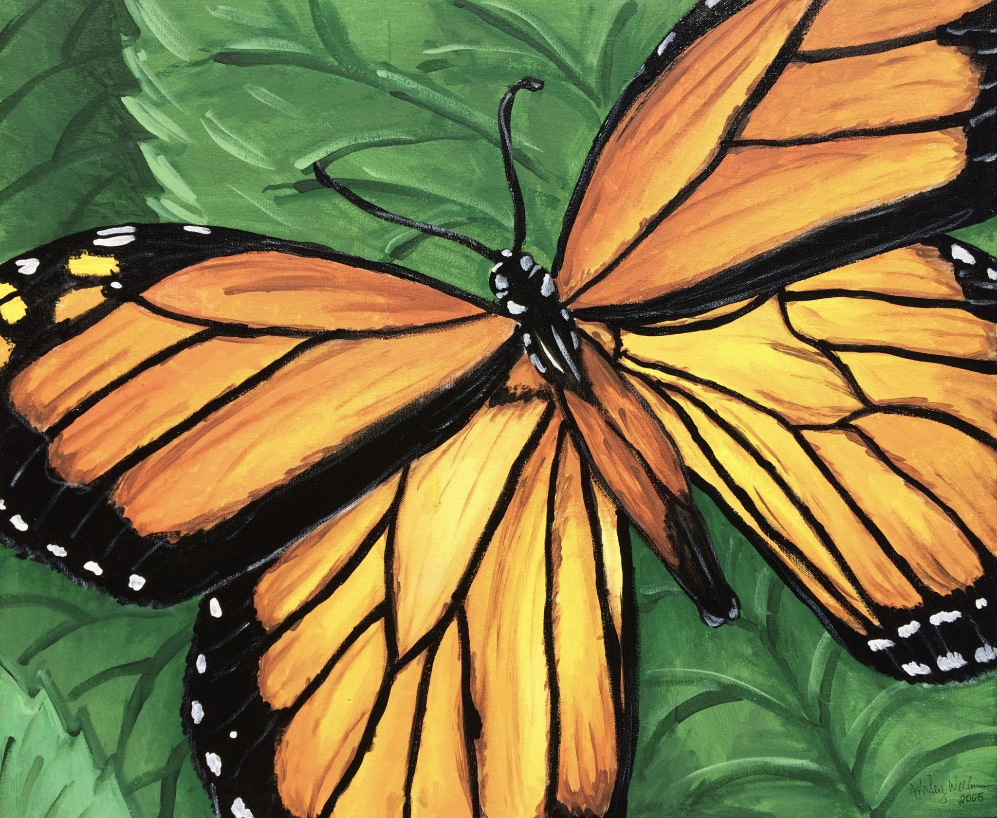 Granny's Monarch, 2006 - acrylic painting of Monarch ...