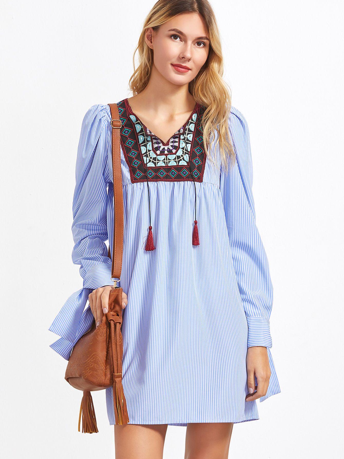 64b932963 Vestido a rayas con canesú de bordado con cordón - azul-Spanish ...