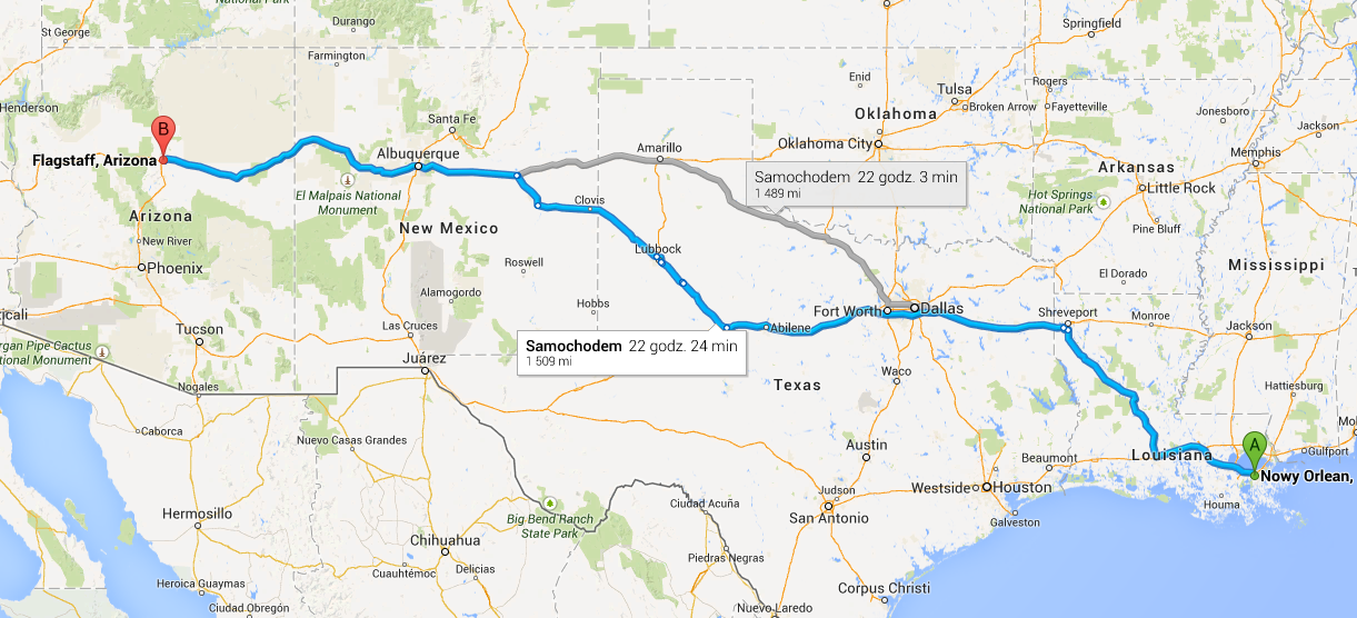 Google Maps New Orleans To Flagstaff Vacation Checklist