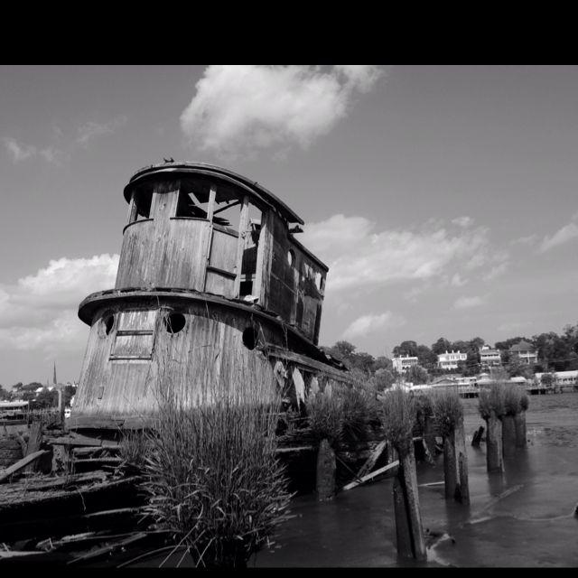 Abandoned North Carolina Homes: Tugboat Shipwreck. Cape Fear River.