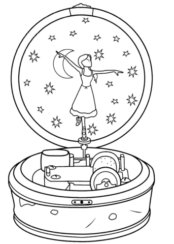 Ballerina Music Box Coloring page 3 Music box