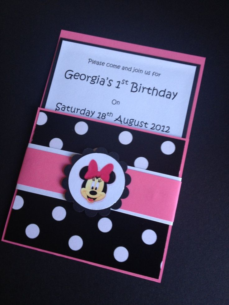 Handmade Pink Black Minnie Mouse Party Invitations \ Envelopes - birthday invitation homemade