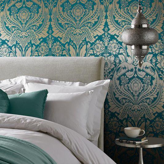 Hallway Desire Teal Gold Wallpaper Teal And Gold Wallpaper Gold Wallpaper Bedroom Gold Wallpaper Hallway