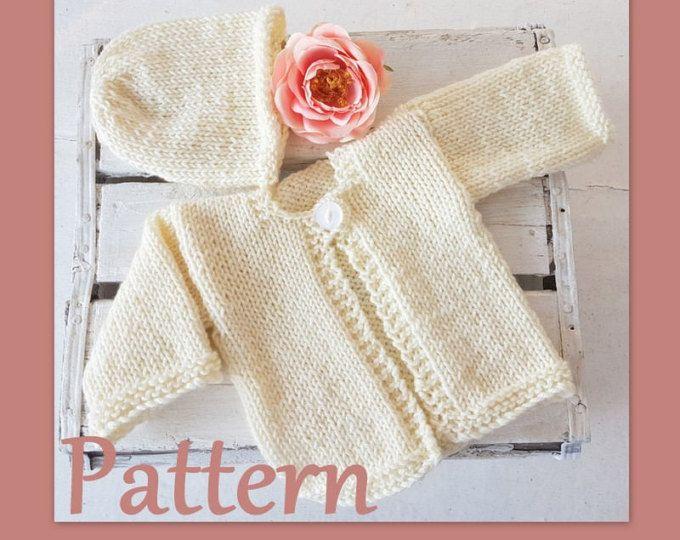 Baby Cardigan Knitting PATTERN, Easy Newborn baby sweater pattern ...