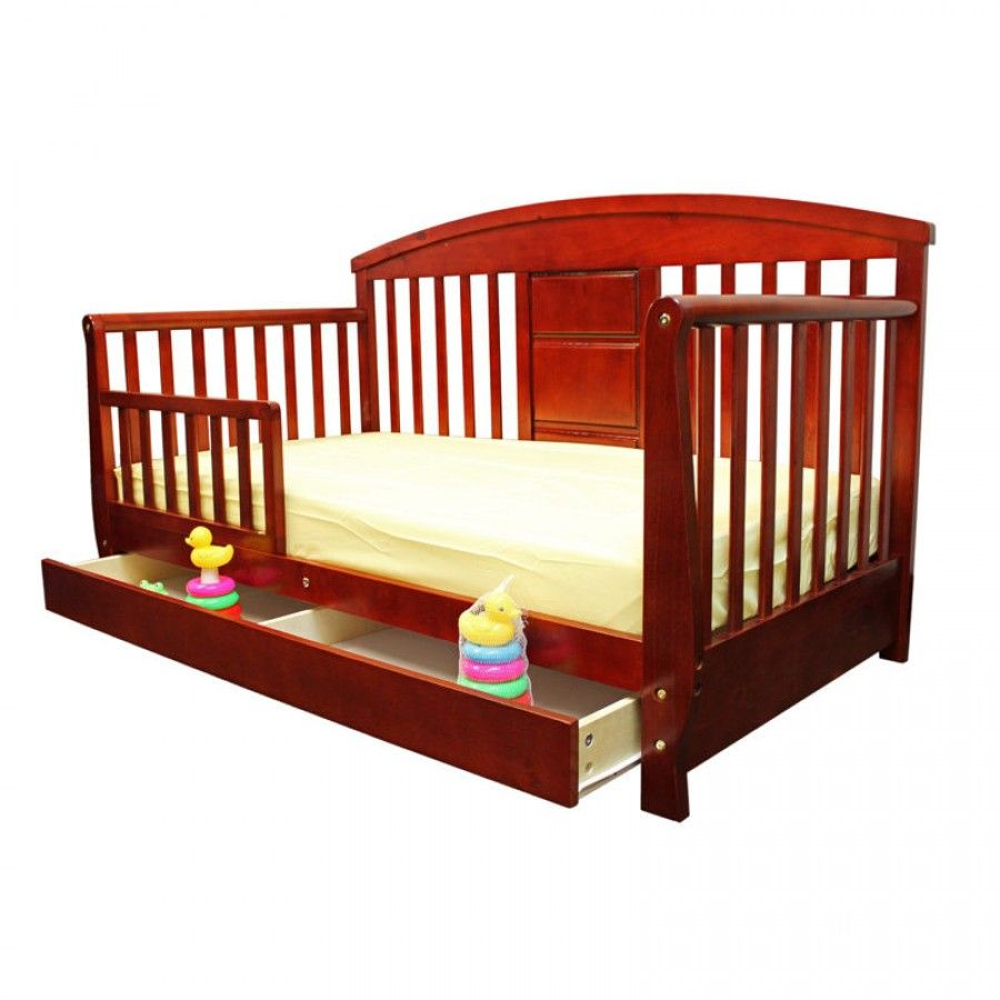 Dream On Me Deluxe Toddler Day Bed With Storage Drawer In Cherry 653 C Toddler Day Bed Bed Storage Drawers Convertible Toddler Bed