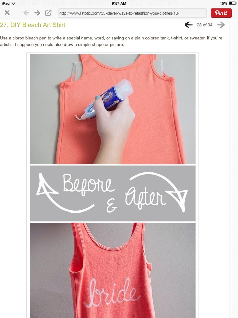 Bleach pen decorate shirt Art shirts, Tank top fashion