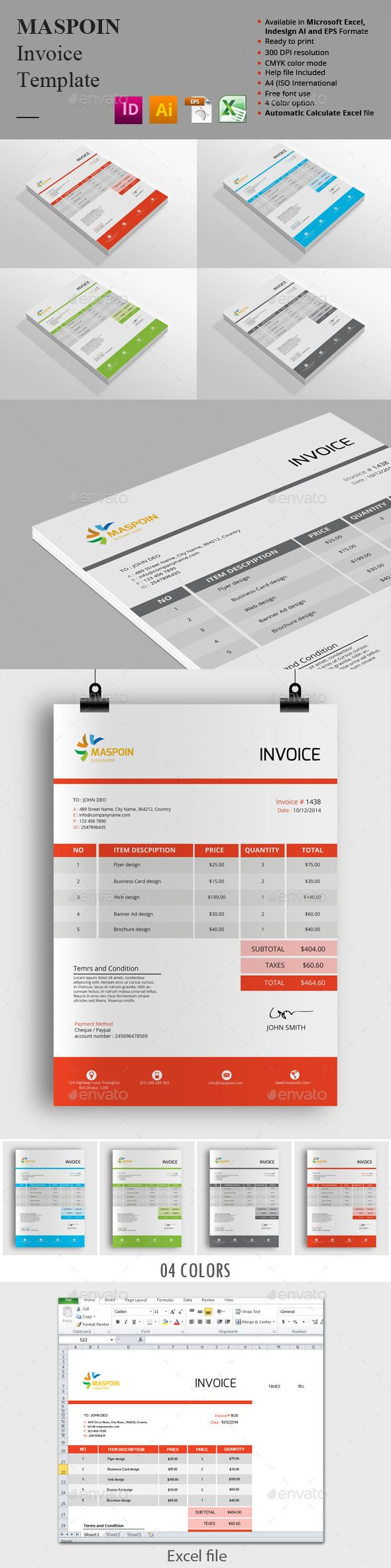 Maspoin Invoice Templates — Vector EPS #indesign invoice #clean ...